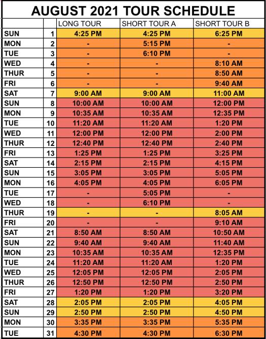 August tide schedule