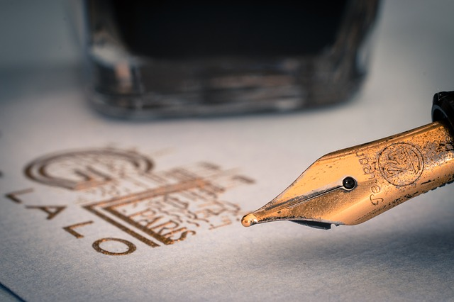 fountain pen with gold lettering