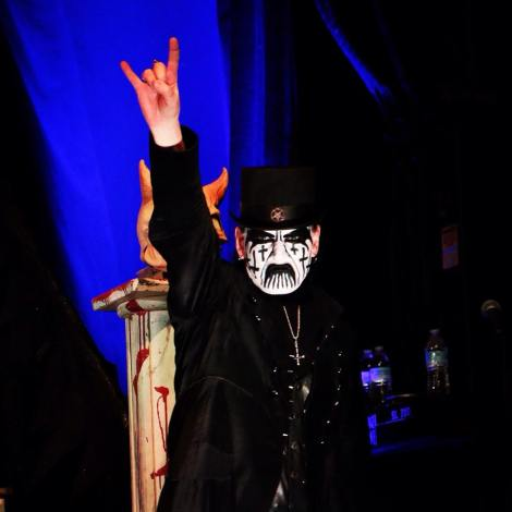 Kim Petersen, AKA King Diamond, raises his metal horns at Fun Fun Fun Fest. Photo by: Joshua Guerra