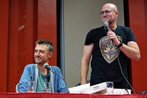"""Sean Gunn and Michael Rooker at the """"Guardians of the Galaxy"""" panel"""