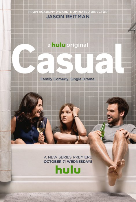 "From left to right: Michaela Watkins, Tara Lynn Bar, and Tommy Dewey star as family members in ""Casual."" / Hulu"