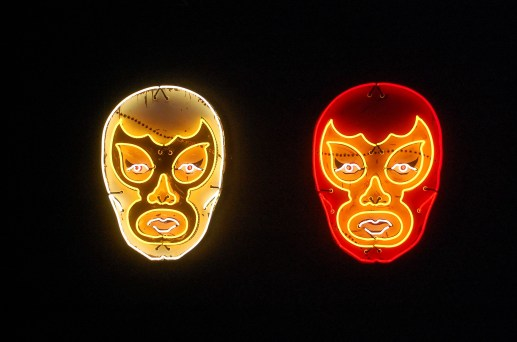 """White Luchador"" and ""Red Luchador"" by Todd Sanders"