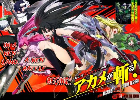A translated cover of Akame ga Kill Chapter 34, as it appeared in Square Enix's Gangan Joker Magazine