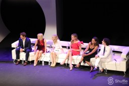 """Ugly Betty"" actors from left to right: Eric Mabius, Ashley Jensen, Judith Light, Rebecca Romijn, Vanessa Williams, and Michael Urie. / Photo by ChinLin Pan"