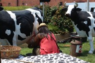 Cow milking competition! Or fake cows at least. / Photo by Parker Conley