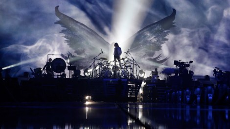 Yoshiki looks out over his drum kit during a rehearsal for X Japan's Madison Square Garden concert in Drafthouse Fi lms' We Are X. / Courtesy of Drafthouse Films
