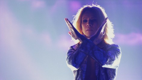 "Yoshiki strikes the iconic X Japan pose before performing in Drafthouse Films' ""We Are X."" / Courtesy of Drafthouse Films"