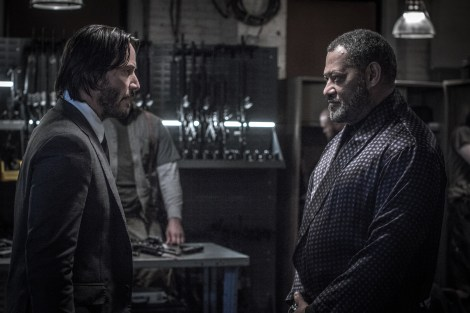 John Wick (Keanu Reeves, left) and The Bowery King (Laurence Fishburne, right). Photo Credit: Niko Tavernise