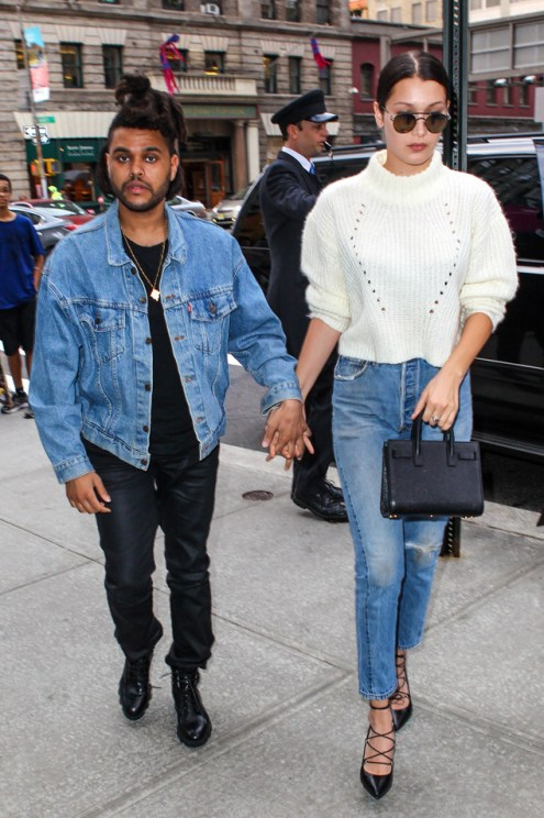 New York, NY - The Weeknd and Bella Hadid hand in hand on Bella's birthday looking happy and stylish wearing denim in New York. AKM-GSI October 9, 2015 To License These Photos, Please Contact : Steve Ginsburg (310) 505-8447 (323) 423-9397 steve@akmgsi.com sales@akmgsi.com or Maria Buda (917) 242-1505 mbuda@akmgsi.com ginsburgspalyinc@gmail.com