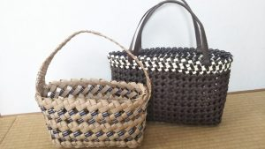 石畳編みのカゴバック