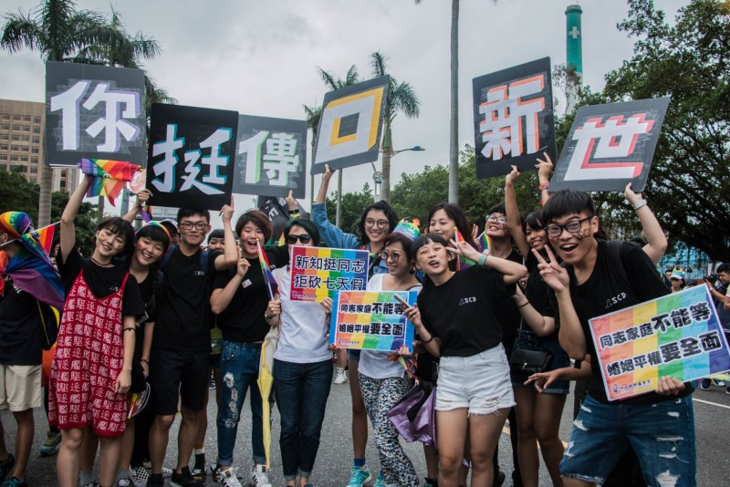 The students of Shih Hsin university speech communication department joined the parade.Photo/Hsieh, Pei-yu(謝珮瑜)