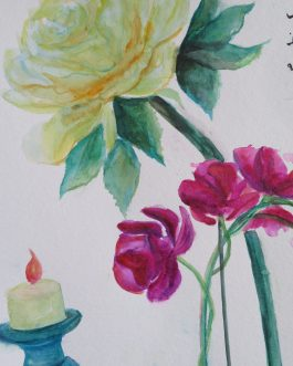 Peony with Orchid