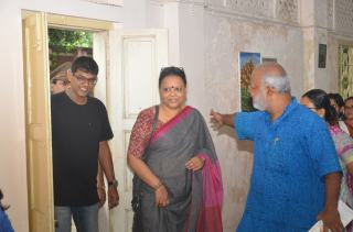 Eminent singer Lopamudra Mitra arrives for the Inaugural program