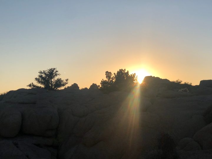 Sunset in Joshua Tree National Park (JTNP) over a bunch of rocks