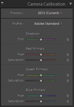 Lightroom Develop Camera Calibration Panel