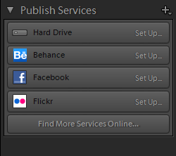 Lightroom Library Publish Services Panel