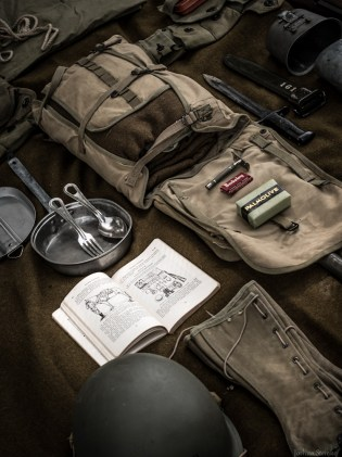 G.I. haversack with mess kit and toiletries.