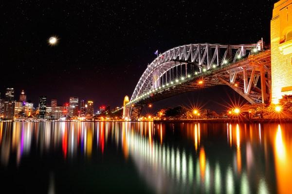 lunar eclipse and bridge