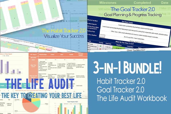 3-in-1 bundle: Habit tracker 2.0, Goal Tracker 2.0, and Life Audit Workbook Spreadsheets
