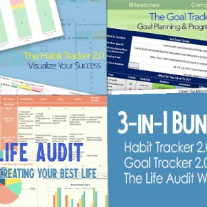 3-in-1 bundle: Habit tracker 2.0, Goal Tracker 2.0, and Life Audit Workbook Spreadsheets