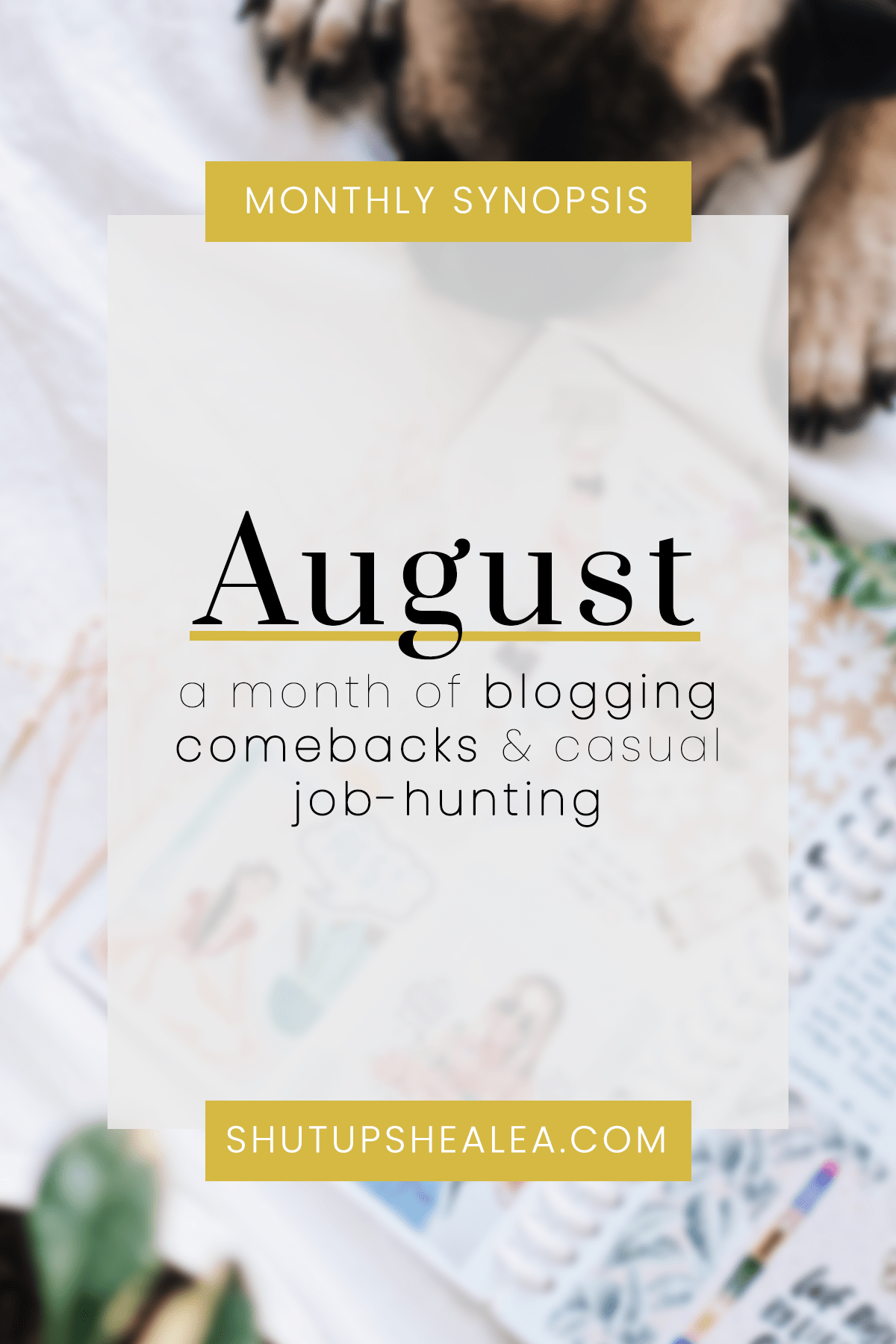 Monthly Synopsis: An August of Blogging Comebacks & Casual Job-hunting