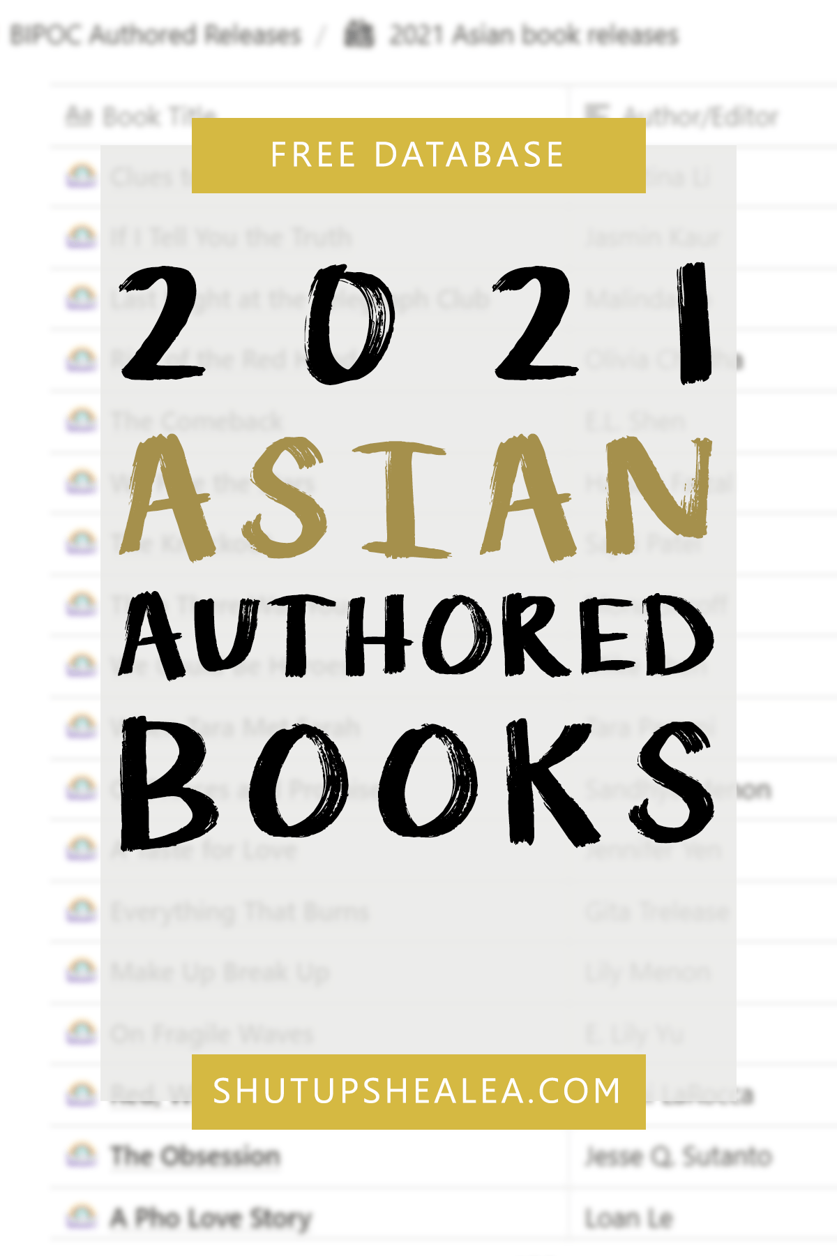 Free Database: 2021 Asian-Authored Books