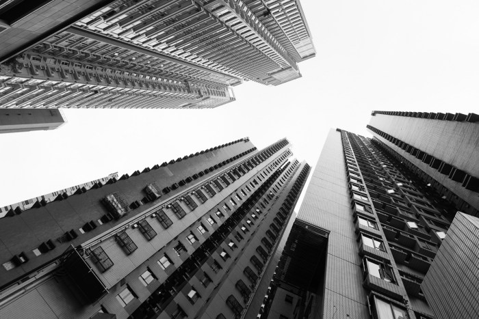 Buildings in monochrome at Central area of Hong Kong