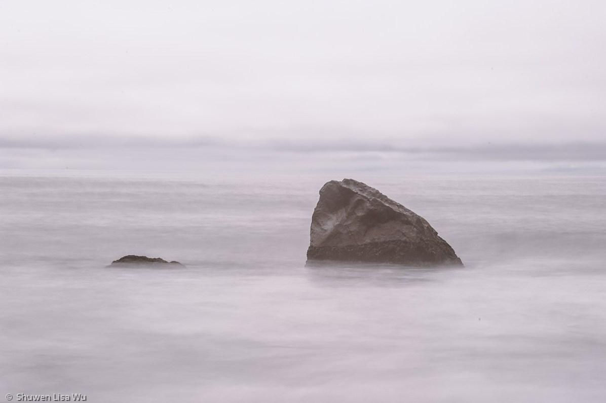 Shark-fin shaped rock at Humboldt Lagoon.