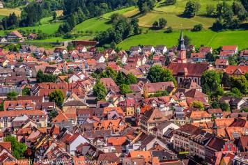 Waldkirch im Breisgau seen from Kastellburg. Black Forest, Germany, June 2014.