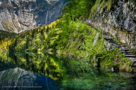 Trail at Obersee, Nationalpark Berchtesgaden, Bavaria, Germany.