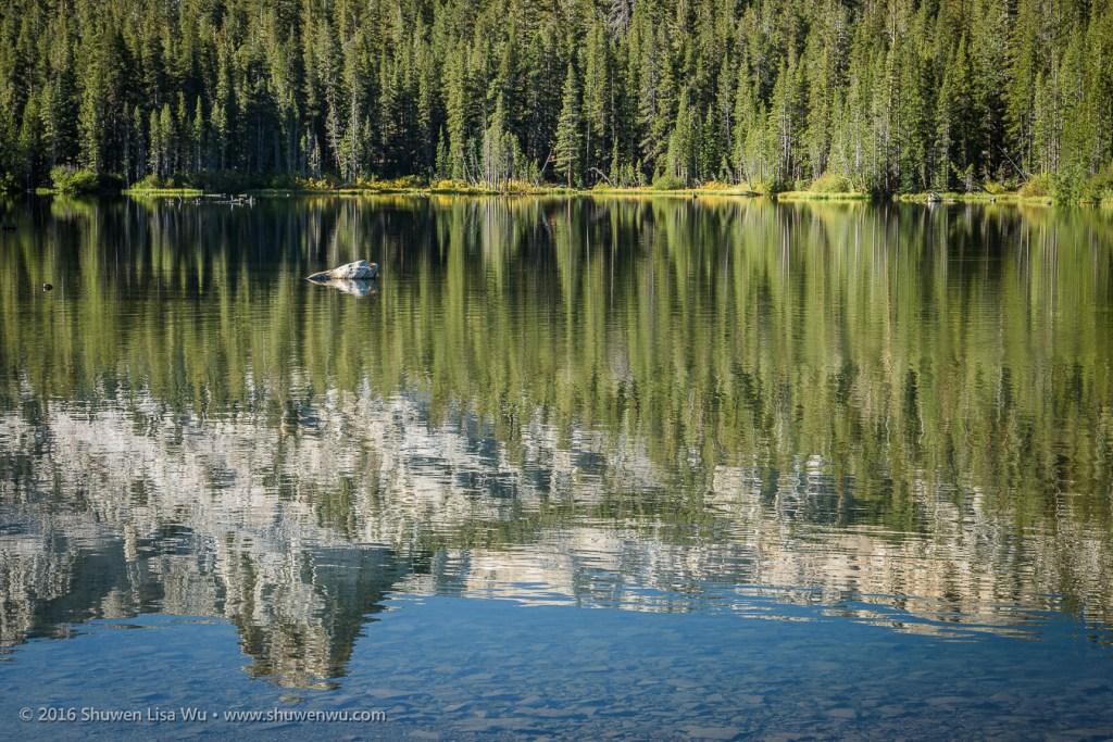 Crystal Crag reflecting in Lake Mamie, Mammoth Lakes, California, September 2016.