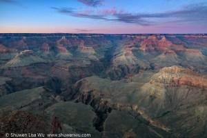 Twilight at South Rim Grand Canyon, Arizona, March 2018.