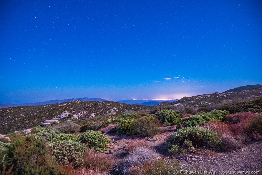 Distant lights of El Centro during a Moonlight Night at Mt. Laguna