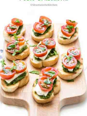 Pesto and Cream Cheese Bruschetta