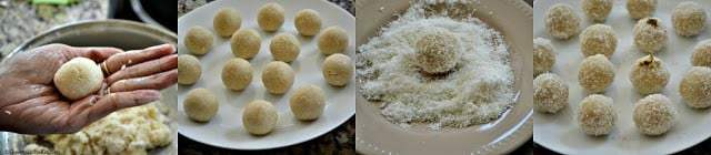 Step wise making of coconut ladoo