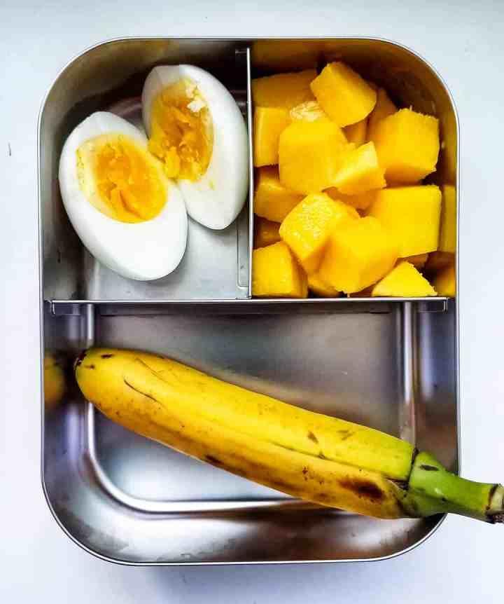 Boiled Egg, baby banana and mango cubes