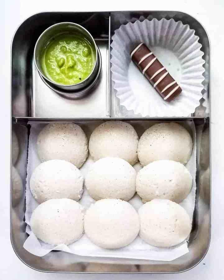 Mini idlis with coriander coconut chutney and sweet treat