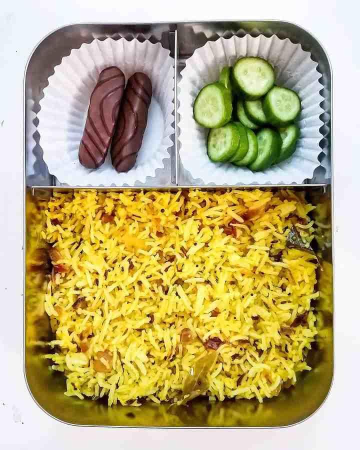 Phodnicha bhaat (stir fried rice), Cucumber and sweet treat