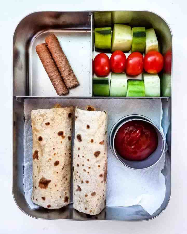 Bean and Cheese Burritos, chocolate coconut rolls and cucumber, cherrytomatoes