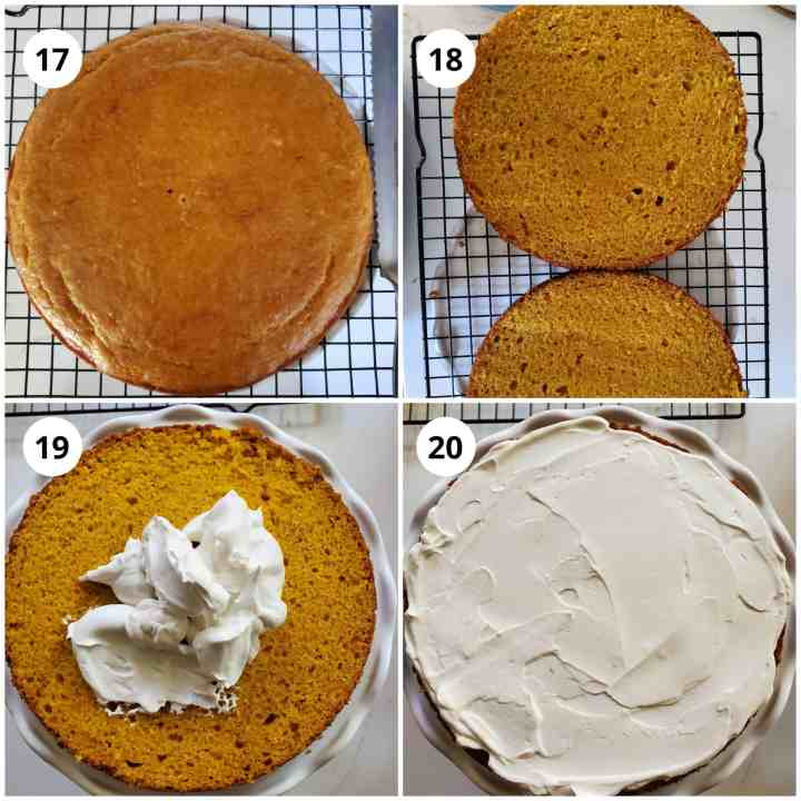 To assemble cake, cut it in half horizontally and add whipped cream to bottom layer and spread.