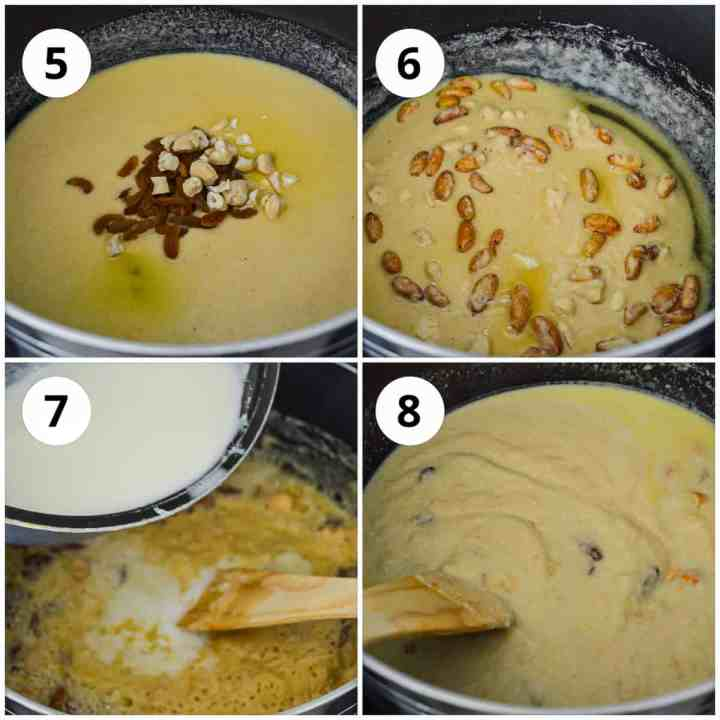 Step by step photos to show adding dried fruits to the rava