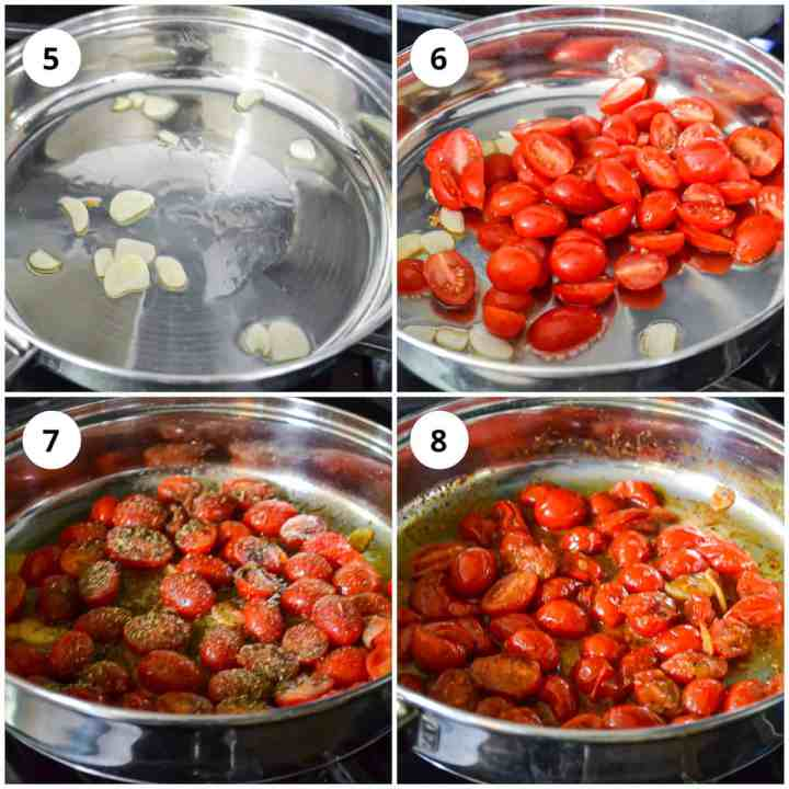Cooking the tomatoes in a pan
