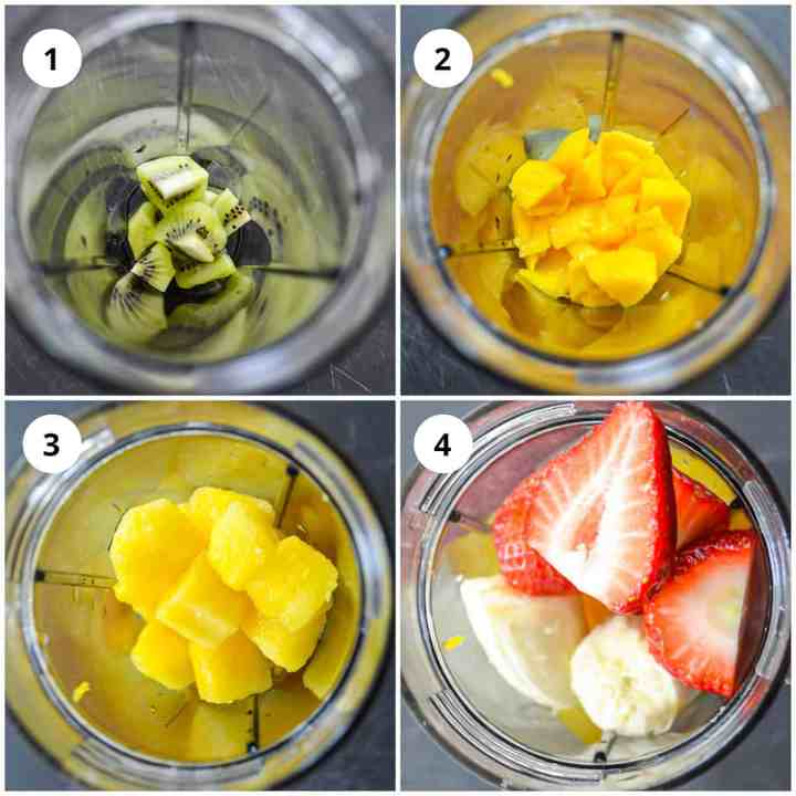 Photos to show how to make the smoothie