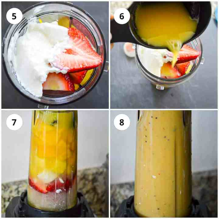 Adding the liquids and blending the smoothie