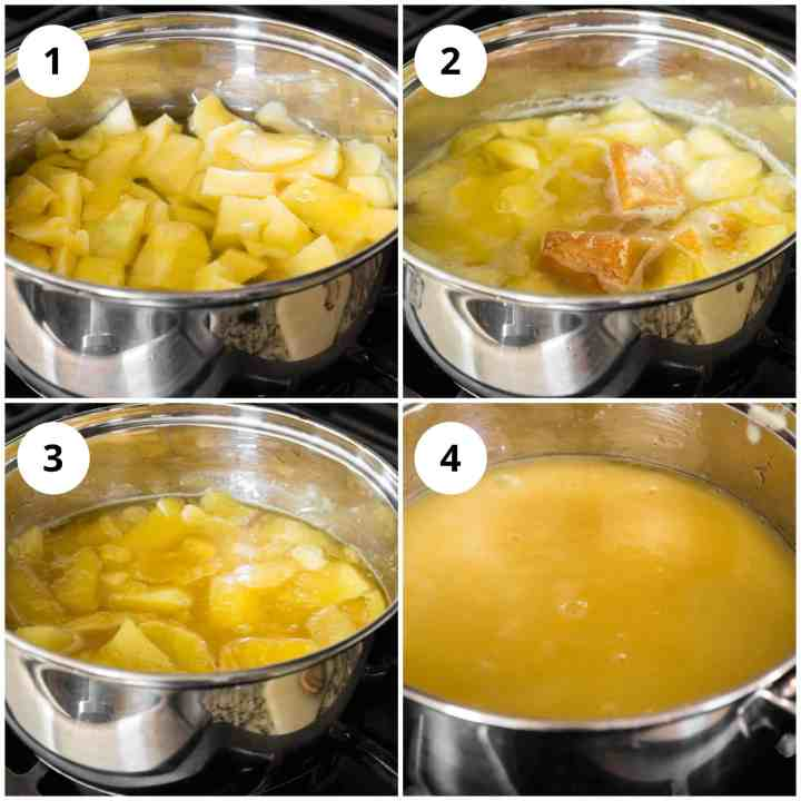 Steps showing making of the aam panna concentrate from boiling the peeled green mangoes and jaggery