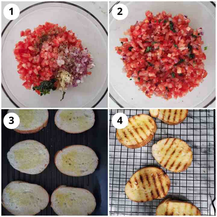 steps showing making the tomato basil mixture and grilling bread