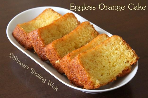 Eggless orange cake