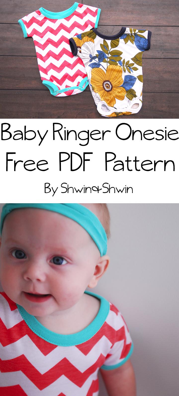Baby Ringer Onesie || Free PDF Pattern || Shwin&Shwin