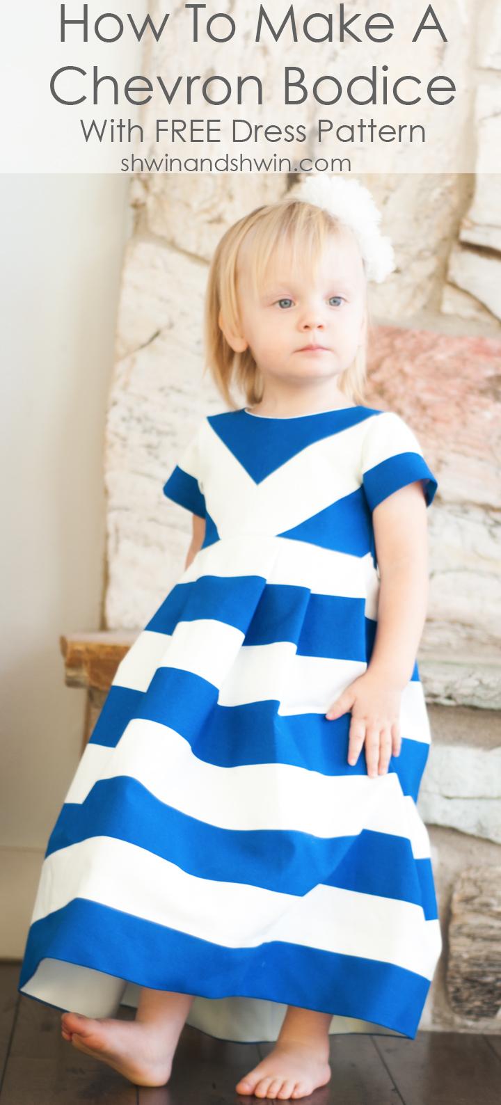 How to make a chevron bodice || Free Dress Pattern 12m-8Y || Shwin&Shwin