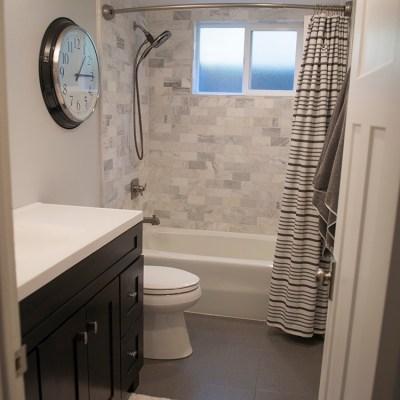 Bathroom Renovation || Downstairs Bath || Black and White bathroom
